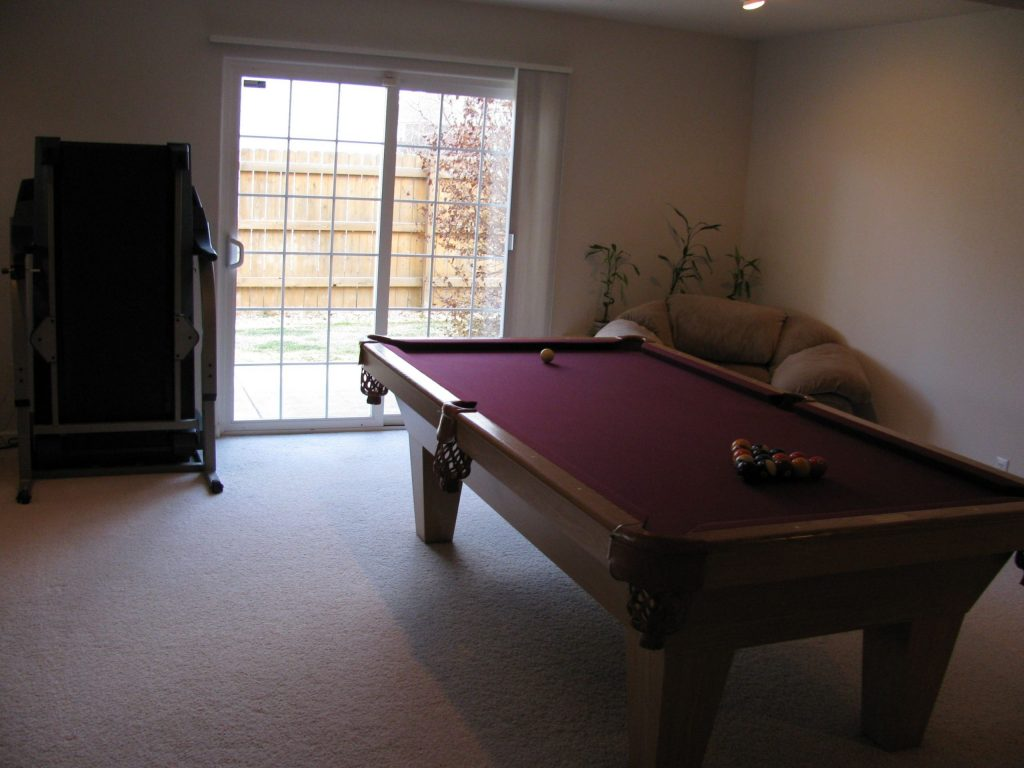 game room in custom basement - basement renovation vaughan
