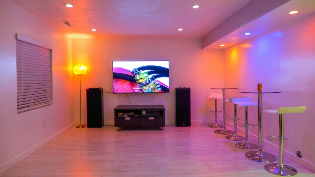 luxury open space basement with multi color potlights - toronto basement renovation