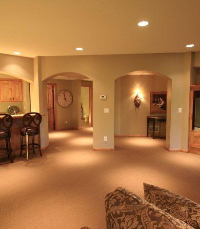 modern basement living room and custom bar in vaughan basement finishing