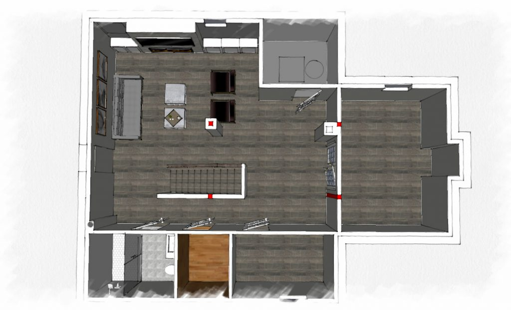 3D render of basement remodeling - basement remodeling king city
