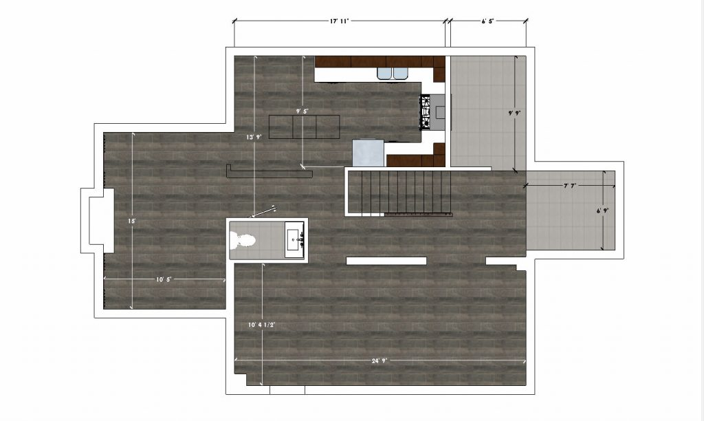 3D design of first floor - basement renovation contractors