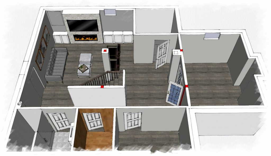 3D design of basement renovation - basement finishing king city