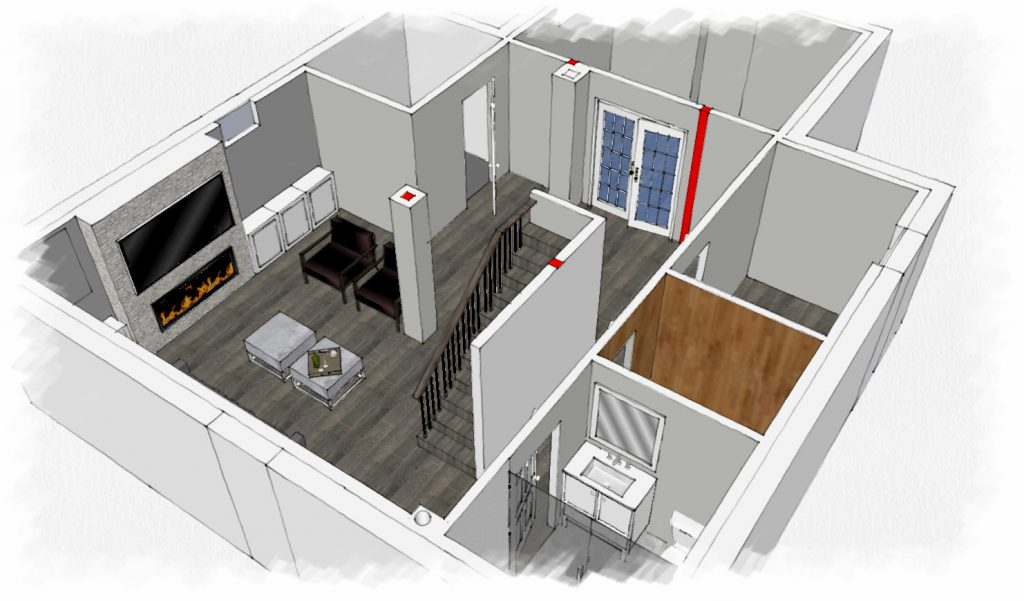3D model of basement renovation - basement contractors