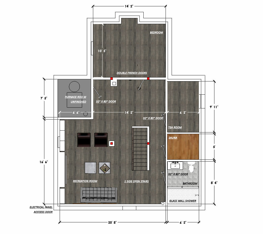 3D model of basement finishing - basement finishing thornhill