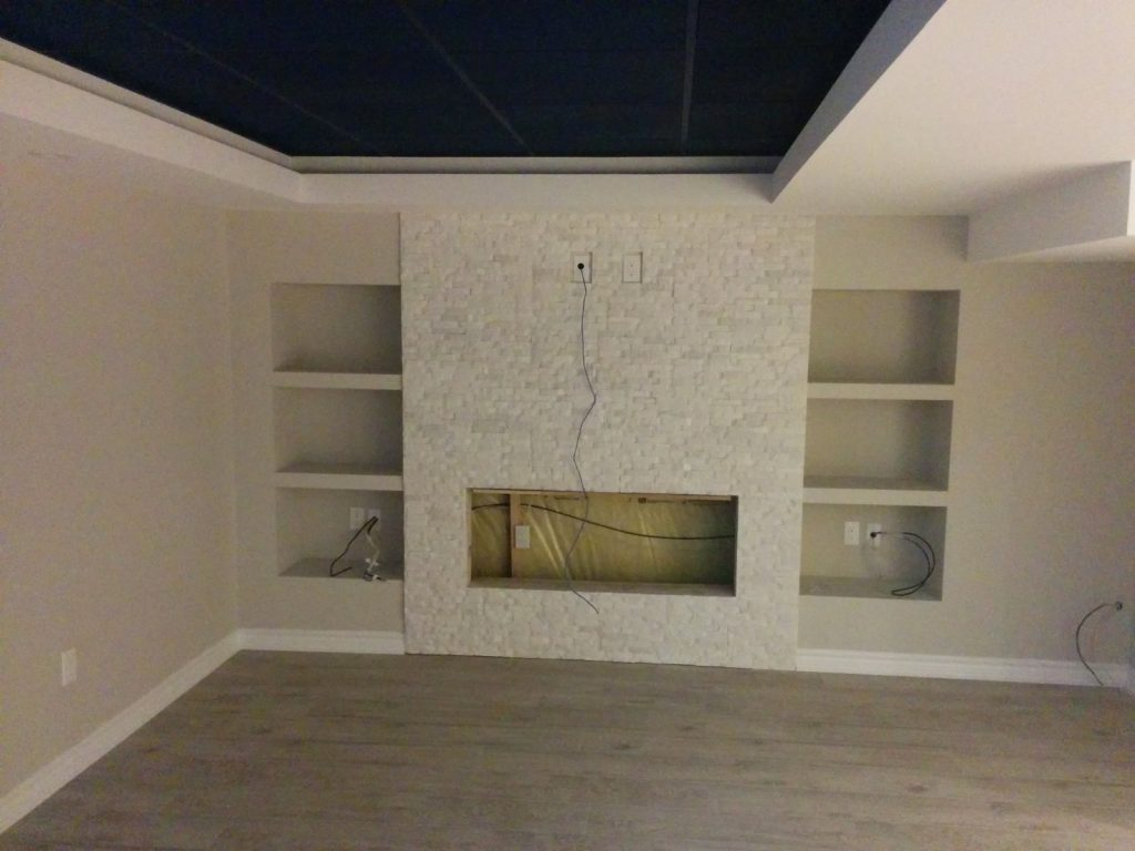 in progress of finishing basement renovation - basement company