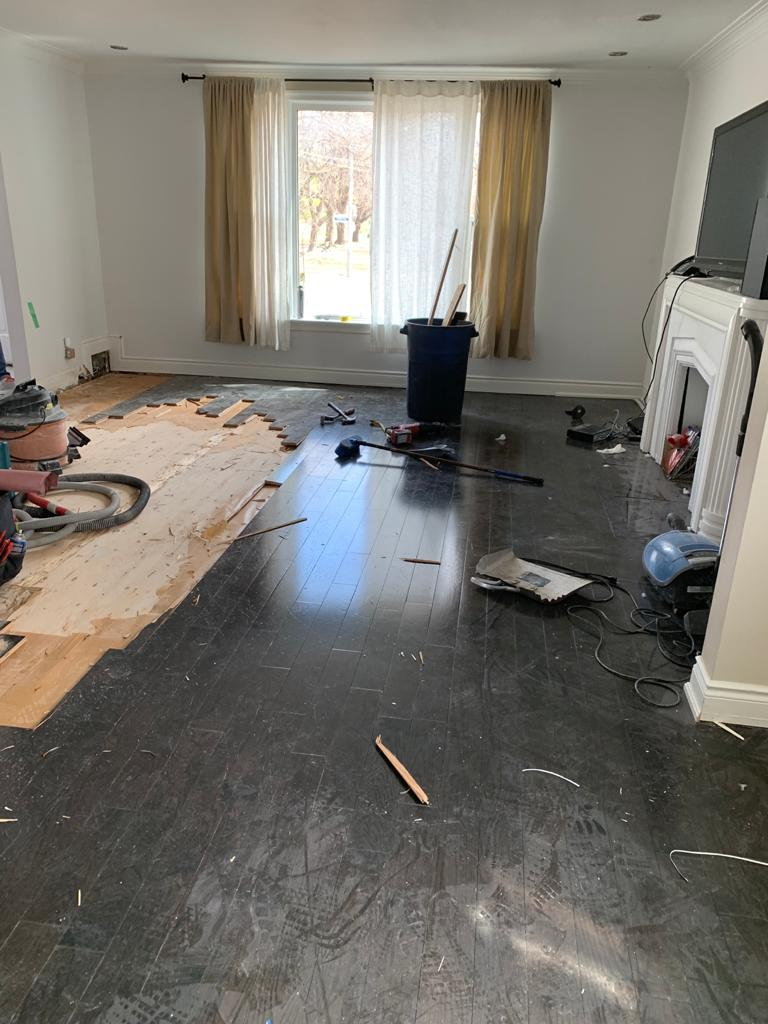 home renovation - floor removel before replace by DRV basements king city