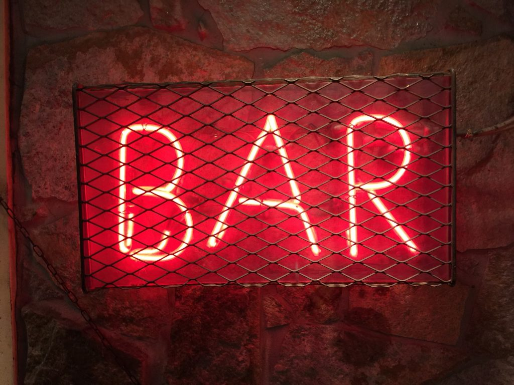 photo of led sign that say Bar - basement ideas