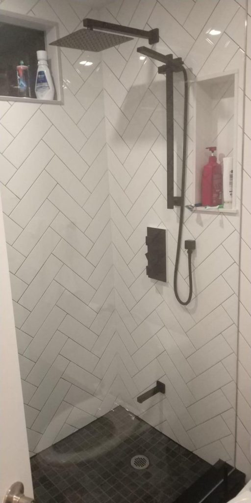 small walk in shower in custom basement bathroom - basement contractor