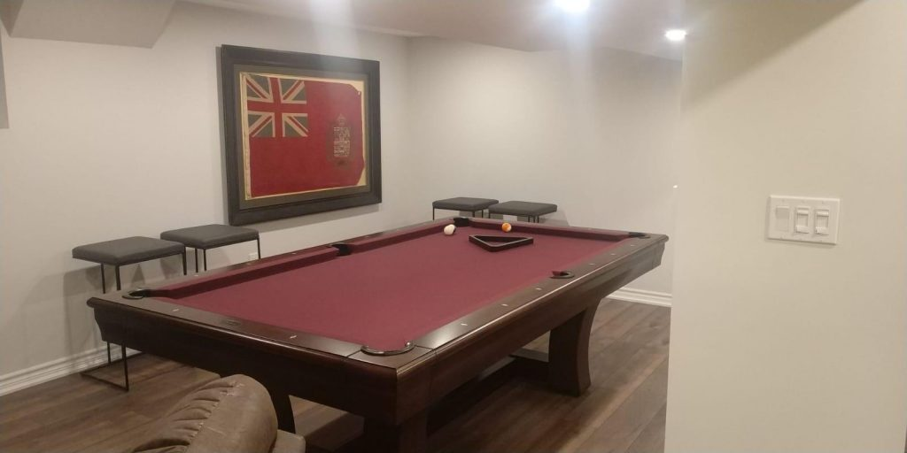basement game room with pool table - basement finishing gta