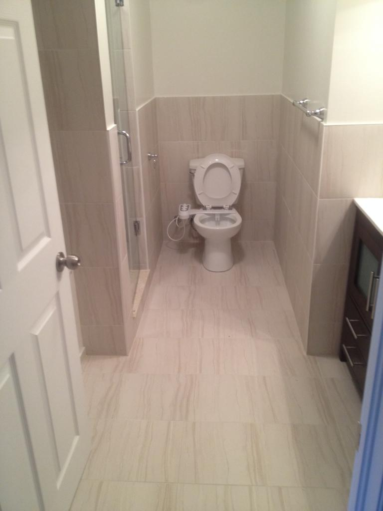 basement bathroom with walk in shower and small vanity - basement remodeling