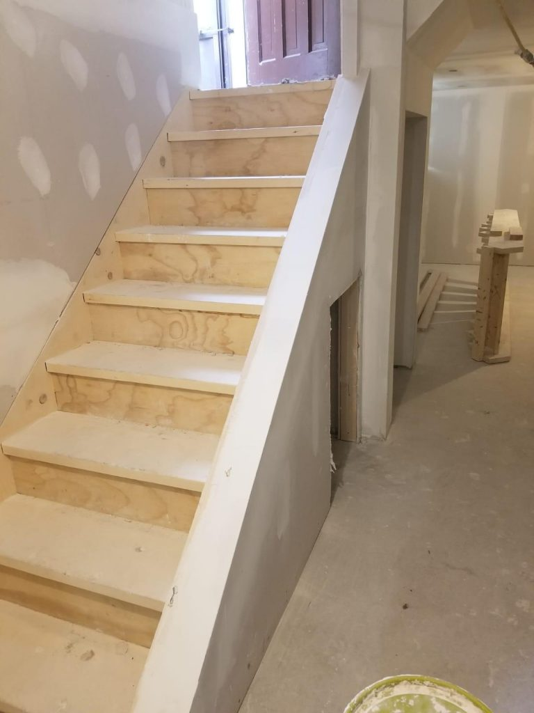finishing basement in progress - basement finishing mississauga