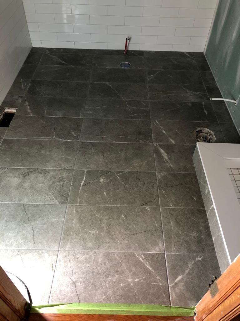 marble floor in walk in shower - basement design ideas